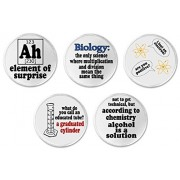 """A&T Designs Set 5 Science Funny Humor 3"""" Sew On Patches Biology Chemistry Atoms"""