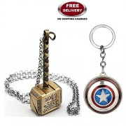 LADY HAWK 2-Piece Avenger Set - Thor Hammer - Metal Pendant, Gold & Captain America Revolving Shield Keychain