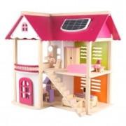 Casuta lemn pentru papusi, roz, mobilier inclus