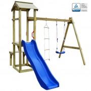 vidaXL fa játszóház csúszdával, hintával és létrával 238x228x218 cm