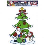 Merkloos Kerst decoratie stickers sneeuwpop/kerstman plaatjes 30 cm