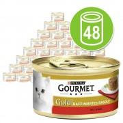 48 x 85 g Gourmet Gold Ragout Refinado - Pack mixto I: salmón / atún / pollo / buey