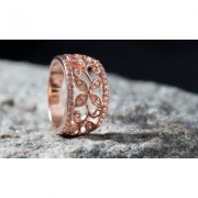 Barzel 18K Rose Gold Plated Flower Filigree Ring made with Swarovski Elements 7 1 ct April Crystal Pink/Red/Yellow Crystals
