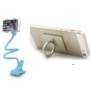KSJ Combo of Lazy Stand and Ring Mobile Holder (Assorted Colors)