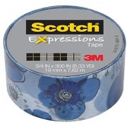 Scotch Expressions Magic Tape 3/4 x 300 Inches Blue Floral 6-Rolls/Pack