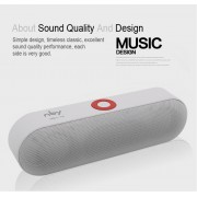 NBY-S18 Bluetooth Speaker HiFi 3D Stereo Wireless Portable Sound Box Mic Hands Free AUX TF FM USB Subwoofer - White
