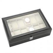 Caredy Estuche de Reloj, 12 Rejillas Reloj de Cuero de la PU Estuche de exhibición Duradero Reloj de Alta Calidad Estuche de Reloj Joyero Caja de exhibición Organizador de Relojes para relojero
