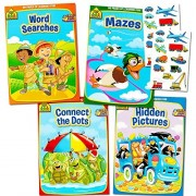 School Zone Activity Book Set Kids-- 4 Books (Mazes, Connect the Dots, Hidden Pictures, Word Searches, Stickers)
