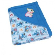 Furn@Home Alphabetical Character Teddy Hooded Design Blue Baby Blanket