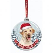 Santa Paws Kerstversiering glazen kerstbal Labrador blond hond 7 cm