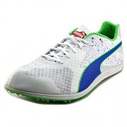 PUMA Men's TFX Distance V5 Shoe, White/Strong Blue/Fluorescent Green Co, 8 M US