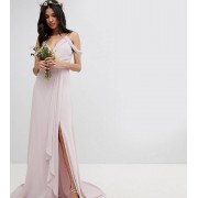 TFNC Tall Cold Shoulder Wrap Maxi Bridesmaid Dress With Fishtail - Mink