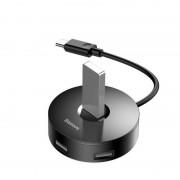Baseus USB-C Round Box Hub Adapter - 4-портов USB-C хъб за компютри и лаптопи (черен)