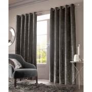 Sienna Eyelet Crushed Velvet Curtains - Charcoal - 90 x 90cm