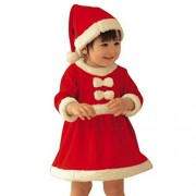 Alonea Merry Christmas - Kids Santa Claus Costume Toddler Child's Little Santa Costume (Dresses+Hat Outfit, 100)