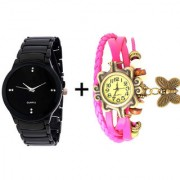 Gtc Combo Of Black Quartz Analog Watch For Man With Pink Designer Leather Analog Watch For Woman