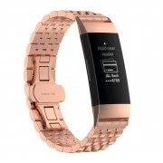 Stylish Stainless Steel Watch Strap Replacement for Fitbit Charge 3 - Rose Gold
