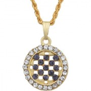MissMister Gold Plated Round Shape Iolite Blue CZ and White CZ Fashion Chain Pendant Women Stylish Latest
