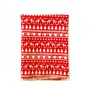 Magideal 1.6 Yards Christmas Tree Elk Deer Cotton Linen Sewing Fabric Red