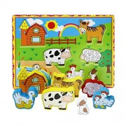 Lewo Chunky Wooden Puzzle for Toddlers Barnyard Farm Animals Jigsaws (7 pcs)