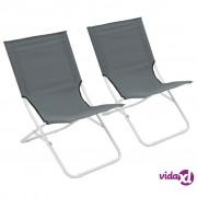 vidaXL Sklopive stolice za plažu 2 kom sive