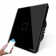 Intrerupator simplu WiFi cu touch Cnskou, panou tactil de sticla cristal, negru