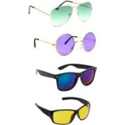 Elligator Aviator, Round, Wayfarer Sunglasses(Green, Violet, Blue, Yellow)
