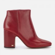 MICHAEL MICHAEL KORS Women's Elaine Leather Heeled Ankle Boots - Mulberry - US 9/UK 6 - Red