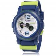 ER Jelly Estilo Exterior Impermeable Reloj De Cuarzo De Deporte SANDA Estudiante Muñeca -Azul Y Verde Oscuro