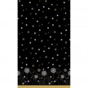 Duni Kerst thema tafellaken/tafelkleed zwart/zilver/goud 138 x 220 c