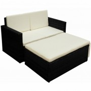 vidaXL Set mobilier de grădină cu canapea 7 piese, poliratan, negru