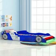 """Sonata Детско легло """"състезателна кола"""", LED лента, 90x200 cм, синьо"""