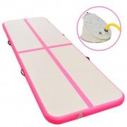vidaXL Надуваем дюшек за гимнастика с помпа, 500x100x10 см, PVC, розов