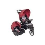 Travel System - Carrinho De Bebê Fox Com Bebê Conforto - Cinza Com Vermelho