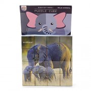 Playking Ratnas Combo of 3 Puzzles - Educational Puzzle Cube in Wild Animal, Pet Animal and Transport