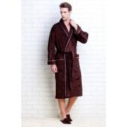 PECHE MONNAIE Элегантный мужской халат из плотной махровой ткани коричневого цвета с рисунками слоников + тапочки в подарок PECHE MONNAIE №923 Коричневый