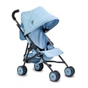 Triokid My First Baby Doll Stroller Miniline Blueberry Blue Travel Stroller Portable Stroller Drawable Fabric with Removable Weather Resistant Canopy