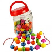 Bigjigs Toys Jar of Lacing Beads and Laces - Threading Activity