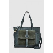 Womens Next Leather Front Pocket Tote Bag - Green