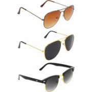 Abner Aviator, Aviator, Clubmaster Sunglasses(Brown, Black, Black)