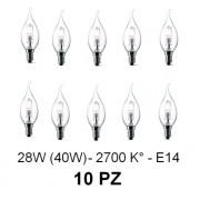 10 Lampada/Lampadina alogena a risparmio energetico 28W (40W) E14 Colpo di vento Cilvani