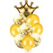 Buchet 9 Baloane Latex Plus Balon Folie Coroana Auriu