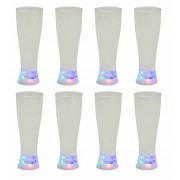 Addliquid Strobing Beer Glass Set of 8 Colour Changing Flashing Led Light Up Full Size Pint Novelty Drinking Plastic Cup 3 Different Lighting Effects Ideal for Party Bbq Drinks Xmas Gift Eight Pack