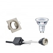 BES LED PHILIPS - LED Spot Set - CorePro 827 36D - GU10 Fitting - Inbouw Vierkant - Mat Nikkel - 4.6W - Warm Wit 2700K - Kantelbaar 80mm
