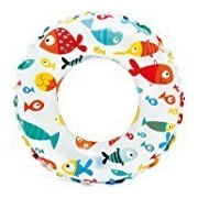24 inch Inflatable Swim Ring - Blow Up Floating Tube Raft Tube for Swimming Pool Beach (Fish)
