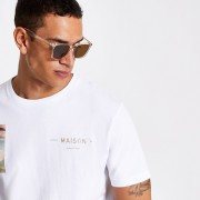River Island Mens Brown slim retro square sunglasses (One Size)