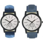 E-SMART 410-411 Stylish New Collection Combo Watch With Round Dial And Leather Strap Watch - For Men