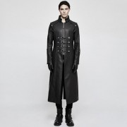 Punk Rave Rifleman Buckled High Collar Long Coat Black Y-809MBK