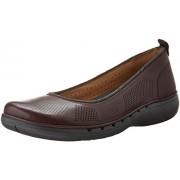 Clarks Women's Un Elita Flat, Aubergine Leather, 6.5 M US