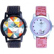 Orange Art Colour And Pink Peacock Couple Casual SCK Analogue Watch By Google Hub